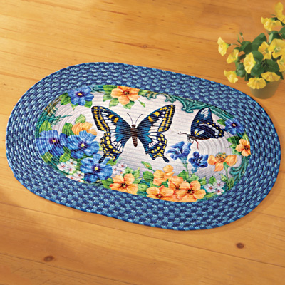 Vintage Spring Butterfly and Floral Braided Rug