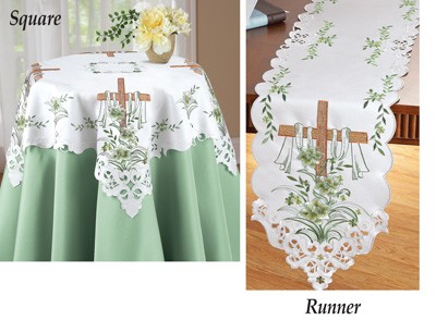 Embroidered Lily and Cross Easter Table Linens
