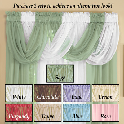 Sheer Scoop Valance Curtains - 2 pc
