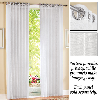 Pleated Lace Patio Door Curtain Panel