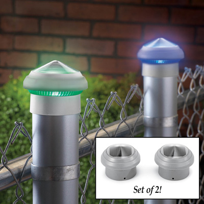 color changing solar post cap lights set of 2 from. Black Bedroom Furniture Sets. Home Design Ideas