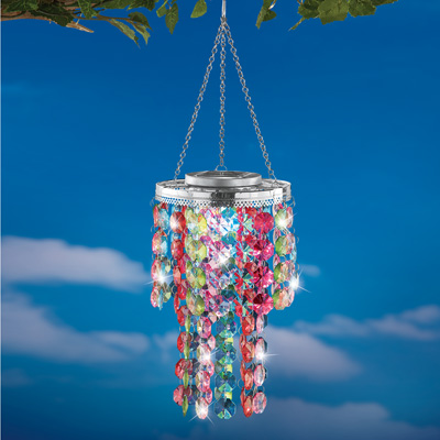 Colorful Outdoor Chandelier with Solar Light