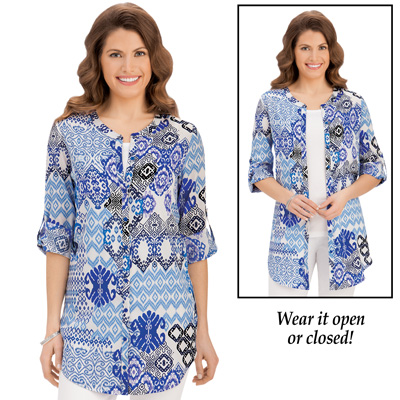 Abstract Print Roll Sleeve Tunic Top