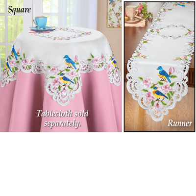 Birds and Cherry Blossoms Table Linens