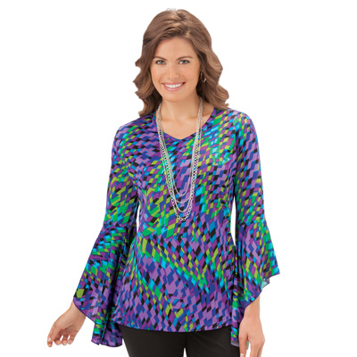 Bell Sleeve Printed Tunic Top