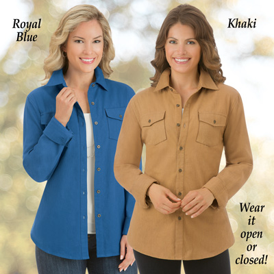 Twill Buttoned Down Shirt Jacket