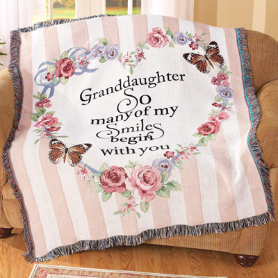 Granddaughter Smile Floral Tapestry Throw