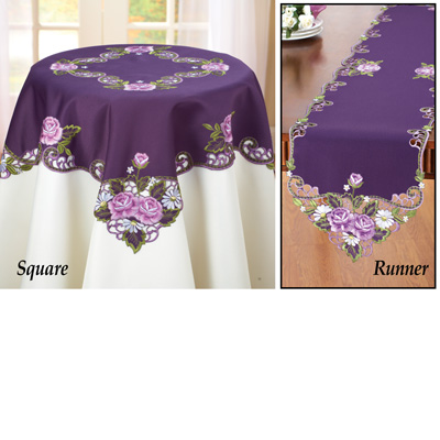 Elegant Embroidered Rose Table Linens