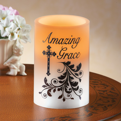 Amazing Grace Christian LED Candle