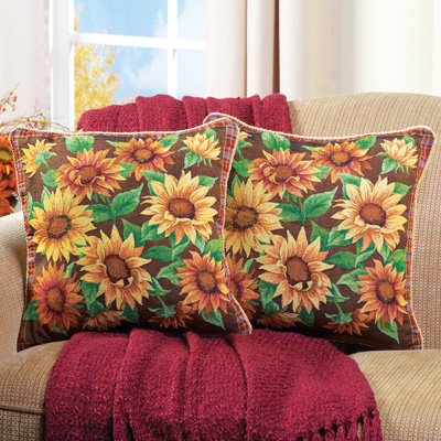 Sunflower Floral Pillow Covers - Set of 2