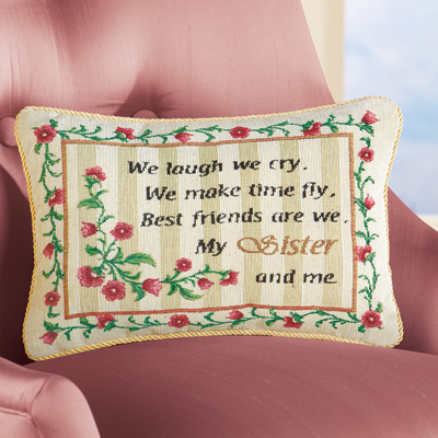 My Sister and Me Floral Tapestry Accent Pillow