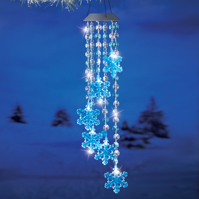 Crystal Snowflake Solar Lighted Wind Chime