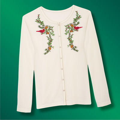 Embroidered Cardinals Knit Cardigan