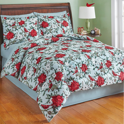 Holiday Poinsettia Garden Comforter Set with Bedskirt