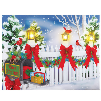 Christmas Snowy Fence Lighted Canvas
