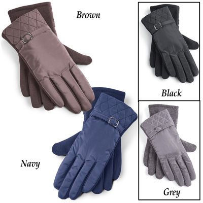 Quilted Nylon Gloves with Buckle Detail