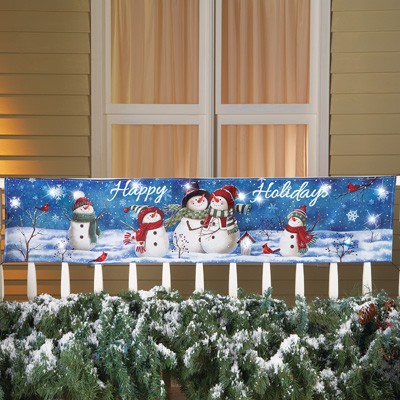 Lighted Happy Holidays Snowman Banner