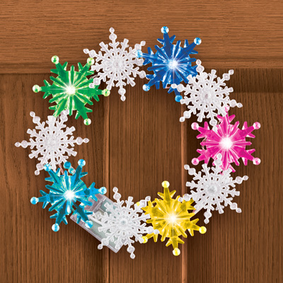 Color Changing Winter Snowflake Wreath