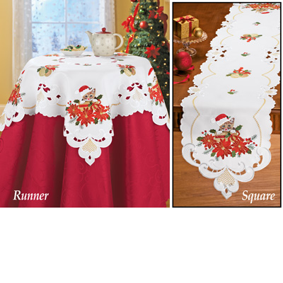 Embroidered Christmas Santa Cat Table Linens