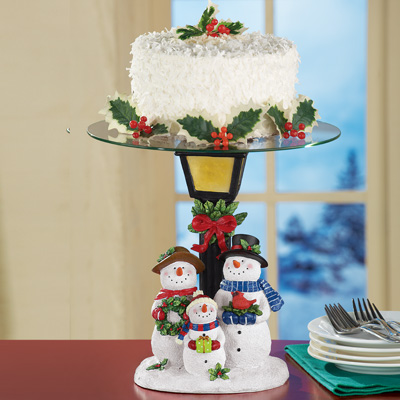 Winter Snowman Cake Plate Holder
