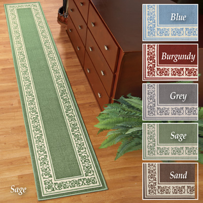 Extra Long Floral Border Rug