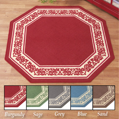 Floral Border Octagon Accent Rug