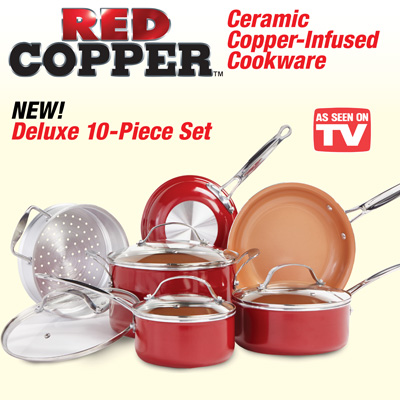 Red Copper Ceramic Cookware Set 10 Pc From Collections Etc