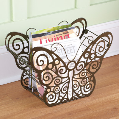 Antique Scroll Butterfly Magazine Holder