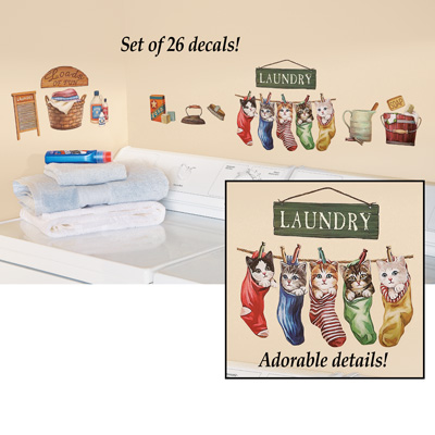 Laundry Clothesline Kitten Wall Decals