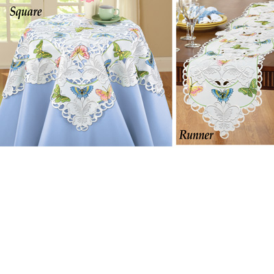 Embroidered Scattered Butterflies Table Linens