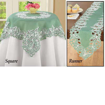 Embroidered Exquisite Butterflies Table Linens