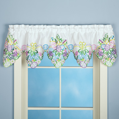 Embroidered Easter Eggs and Flowers Window Valance