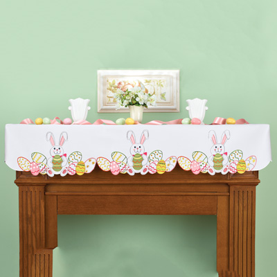 Easter Bunny Eggs Mantel Scarf