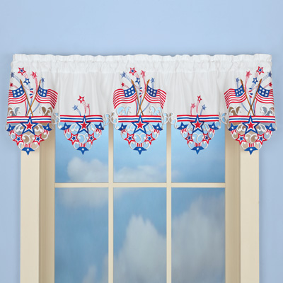 Embroidered Americana Flag Window Valance