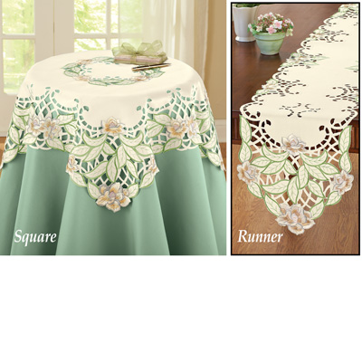 Embroidered Magnolia Flower Table Linens