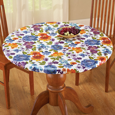 Floral Fitted Vinyl Tablecloth