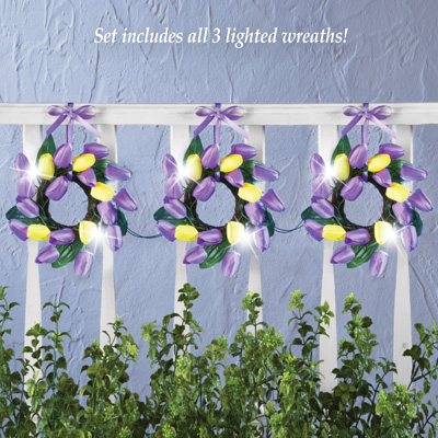 Lighted Tulip Wreath Garland Decor