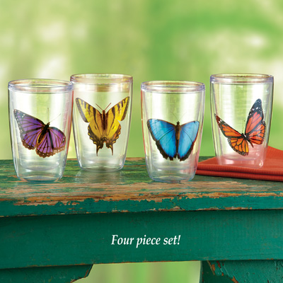 Insulated Butterfly Tumblers - Set of 4