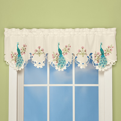Embroidered Peacock Window Valance
