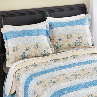 Patchwork Stripe Pillow Shams Set