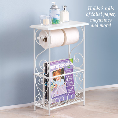 Toilet Paper and Magazine Holder Table