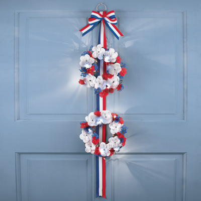 Lighted Patriotic Roses Double Wreath