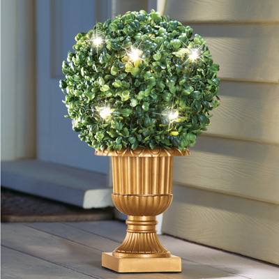 Lighted Faux Round Topiary in Vase
