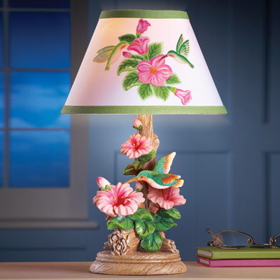 Hummingbird and Flowers Table Lamp