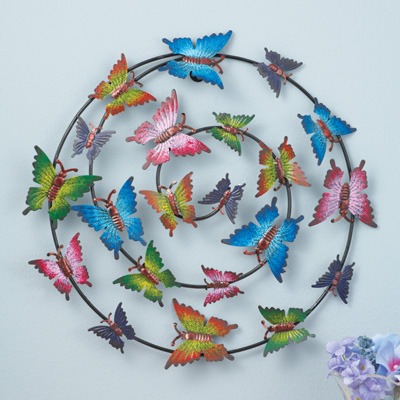 Colorful Butterfly Spiral Wall Art