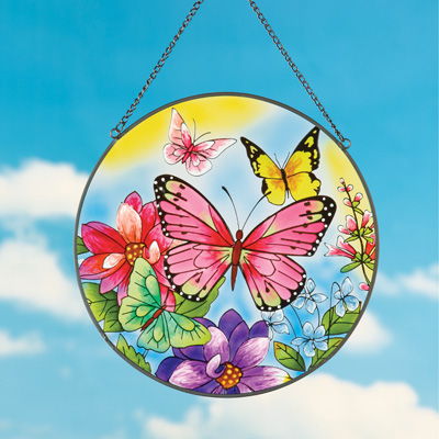 Colorful Butterfly and Flowers Suncatcher