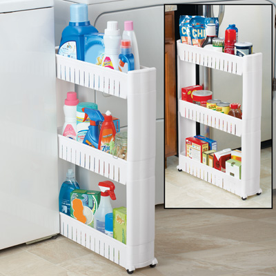 Slim 3-Tier Rolling Storage Shelf