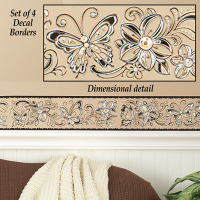 Butterfly Border Wall Decals - Set of 4