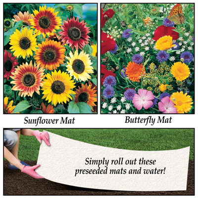 Flower Seeded Mats - Set of 2
