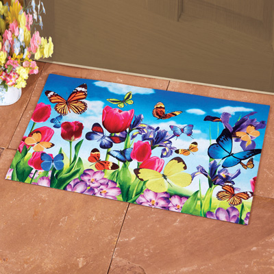 Colorful Butterfly Floral Bloom Doormat